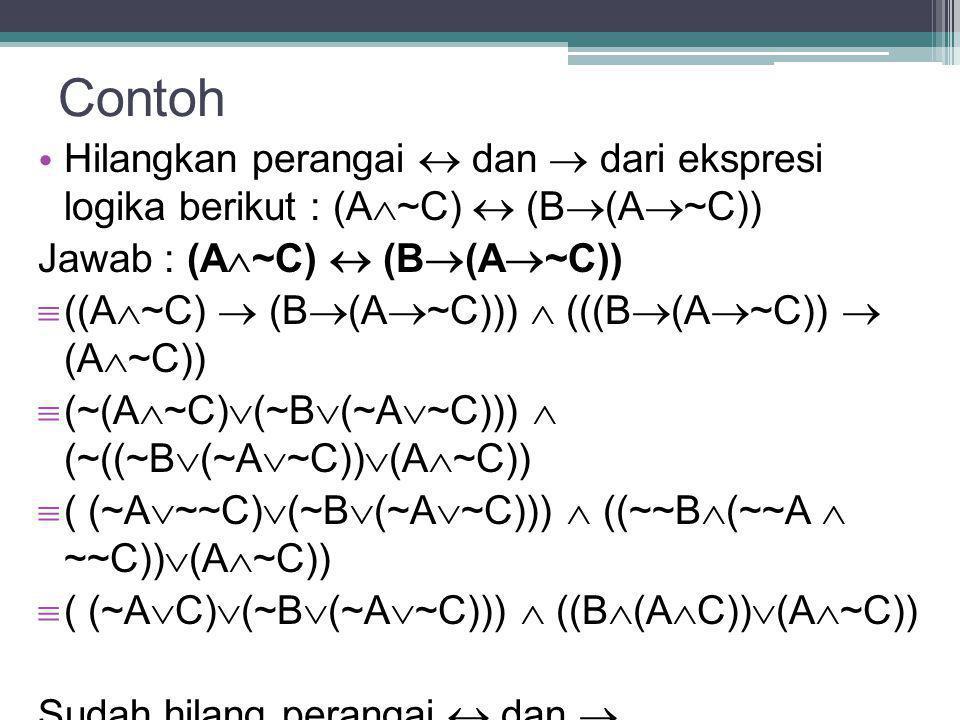 Contoh Hilangkan perangai  dan  dari ekspresi logika berikut : (A~C)  (B(A~C)) Jawab : (A~C)  (B(A~C))