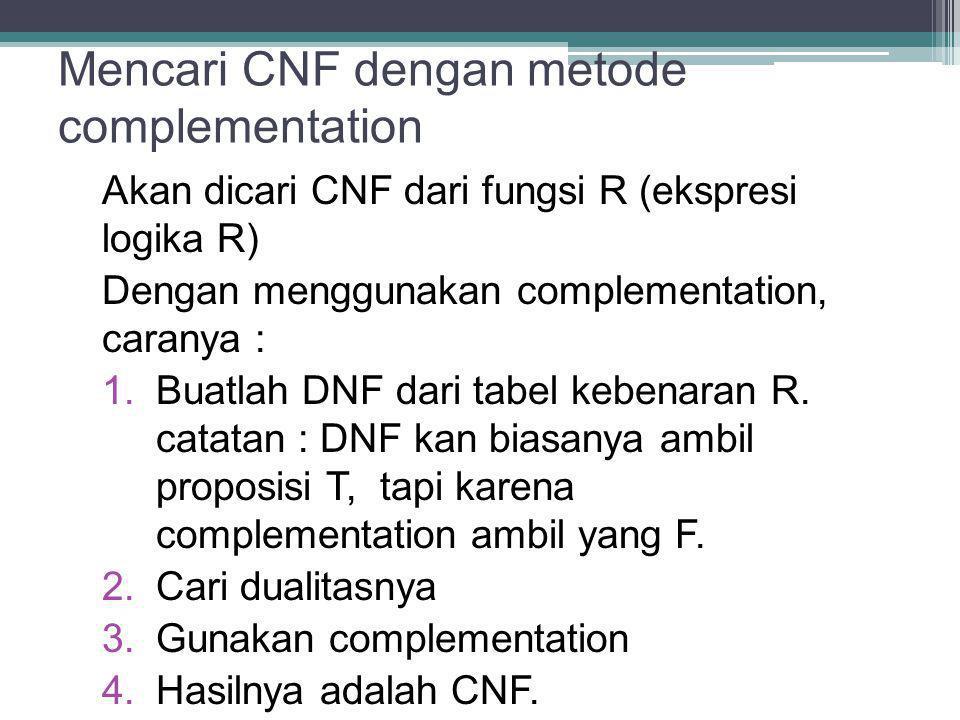 Mencari CNF dengan metode complementation