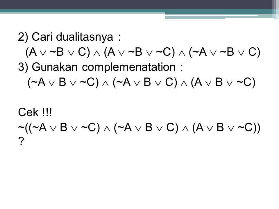 2) Cari dualitasnya : (A  ~B  C)  (A  ~B  ~C)  (~A  ~B  C) 3) Gunakan complemenatation : (~A  B  ~C)  (~A  B  C)  (A  B  ~C) Cek !!.