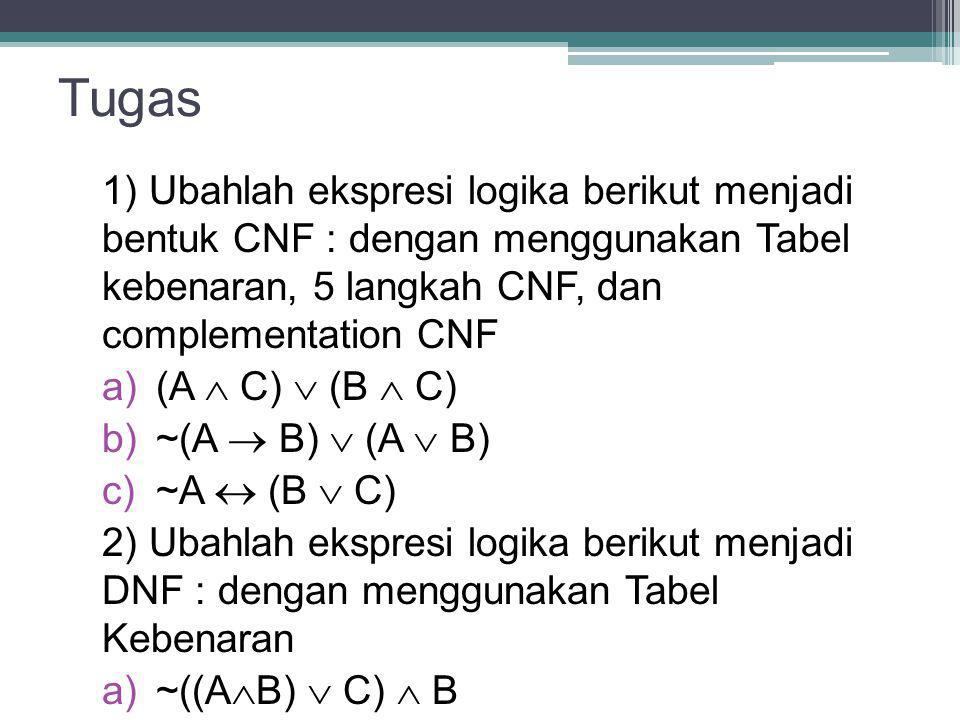 Tugas 1) Ubahlah ekspresi logika berikut menjadi bentuk CNF : dengan menggunakan Tabel kebenaran, 5 langkah CNF, dan complementation CNF.