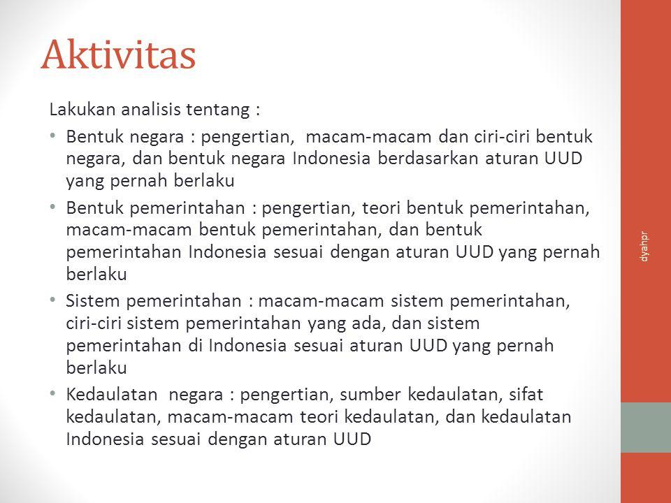 Aktivitas Lakukan analisis tentang :