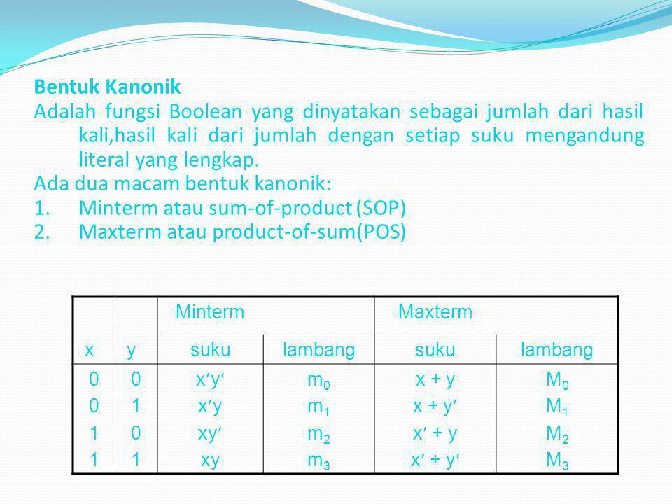 Ada dua macam bentuk kanonik: Minterm atau sum-of-product (SOP)