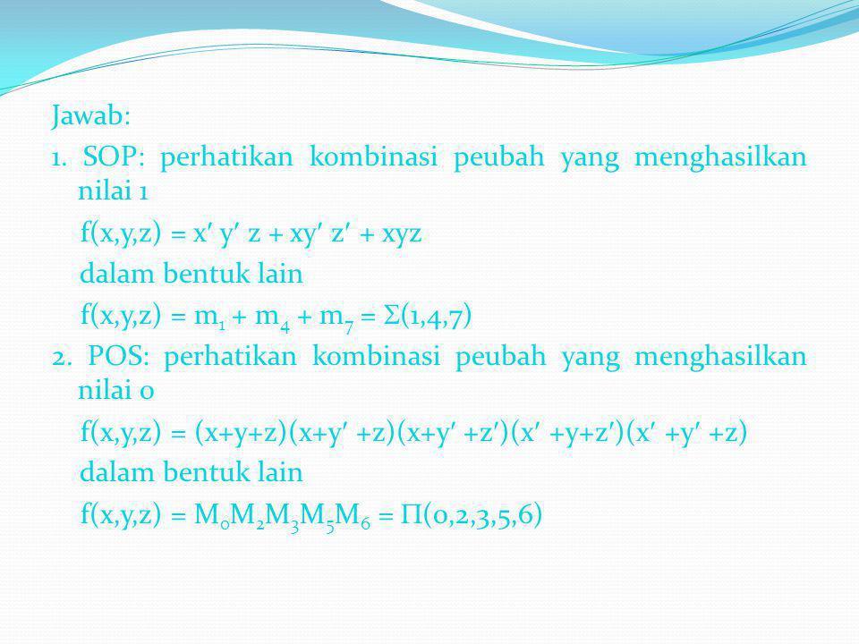 Jawab: 1. SOP: perhatikan kombinasi peubah yang menghasilkan nilai 1. f(x,y,z) = x y z + xy z + xyz.
