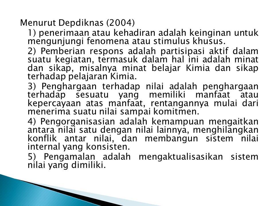 Menurut Depdiknas (2004) 1) penerimaan atau kehadiran adalah keinginan untuk mengunjungi fenomena atau stimulus khusus.