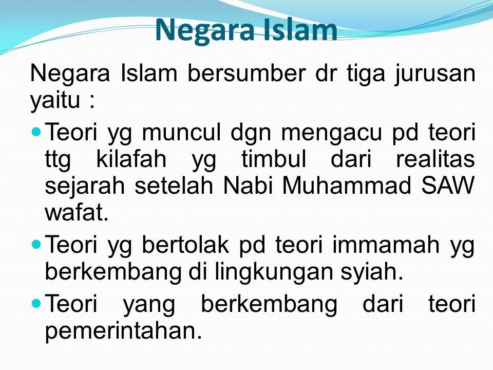 Negara Islam Negara Islam bersumber dr tiga jurusan yaitu :