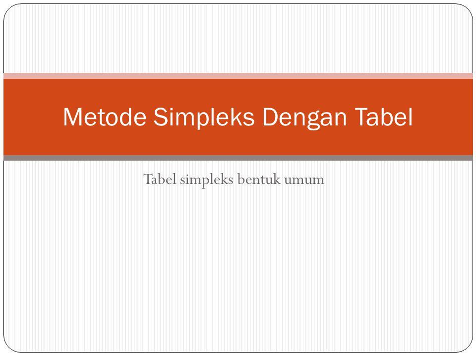 Metode Simpleks Dengan Tabel