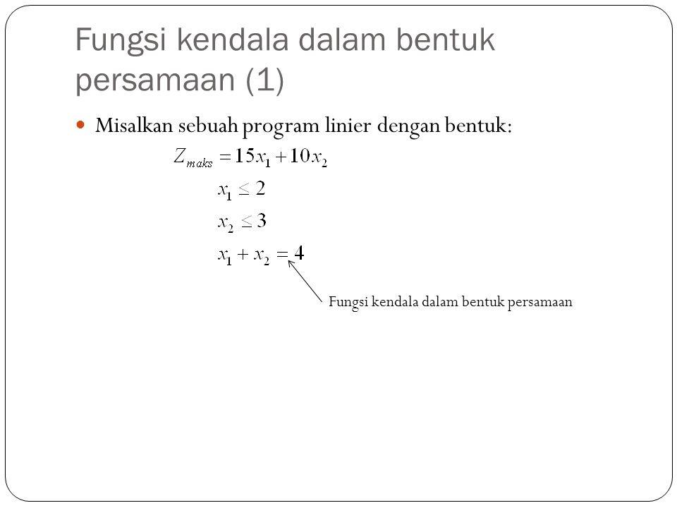Fungsi kendala dalam bentuk persamaan (1)
