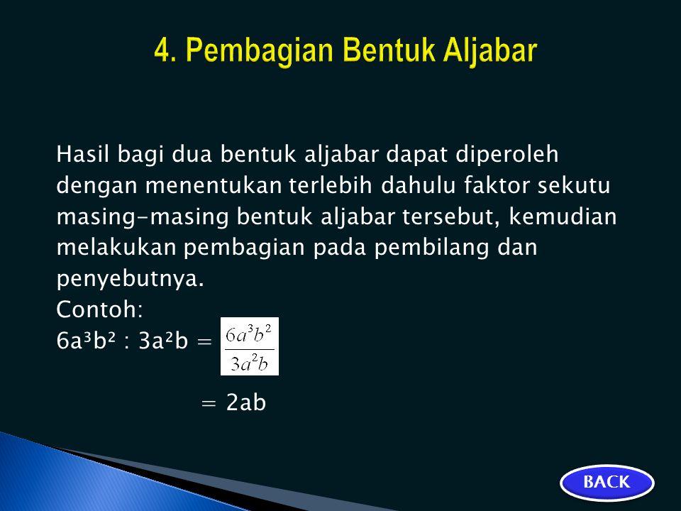 4. Pembagian Bentuk Aljabar