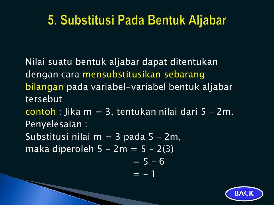 5. Substitusi Pada Bentuk Aljabar