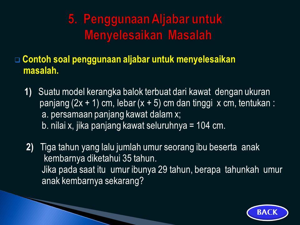5. Penggunaan Aljabar untuk Menyelesaikan Masalah