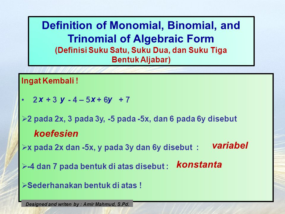 Definition of Monomial, Binomial, and Trinomial of Algebraic Form