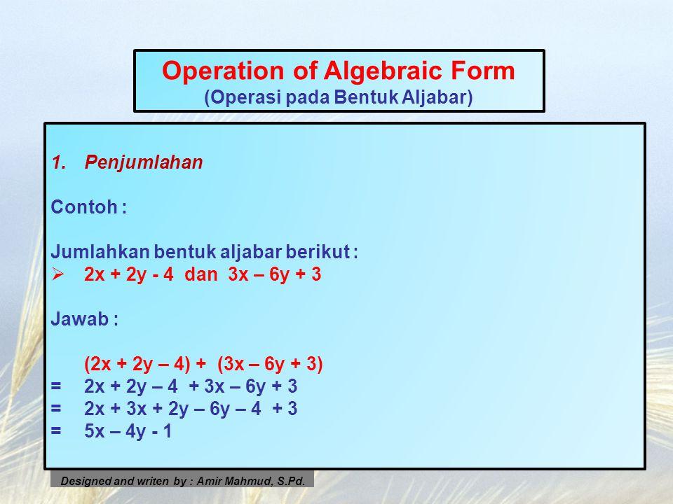 Operation of Algebraic Form