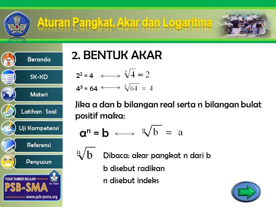 2. BENTUK AKAR 22 = 4. 43 = 64. Jika a dan b bilangan real serta n bilangan bulat positif maka: an = b.