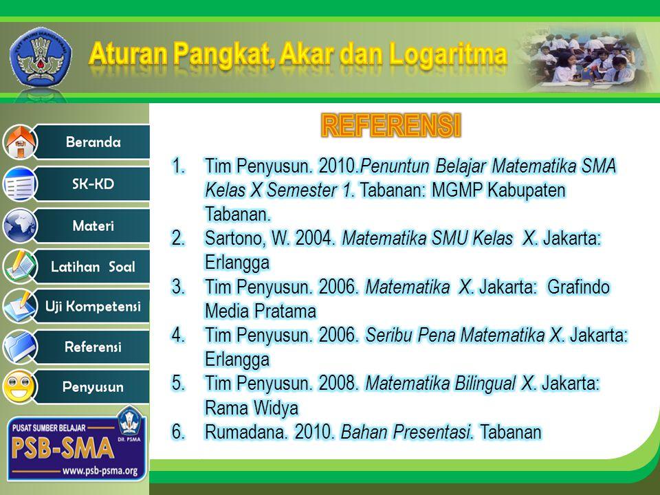 REFERENSI Tim Penyusun. 2010.Penuntun Belajar Matematika SMA Kelas X Semester 1. Tabanan: MGMP Kabupaten Tabanan.