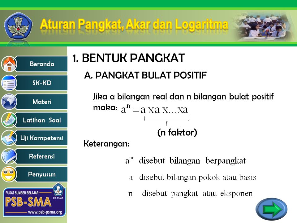 1. BENTUK PANGKAT A. PANGKAT BULAT POSITIF (n faktor)