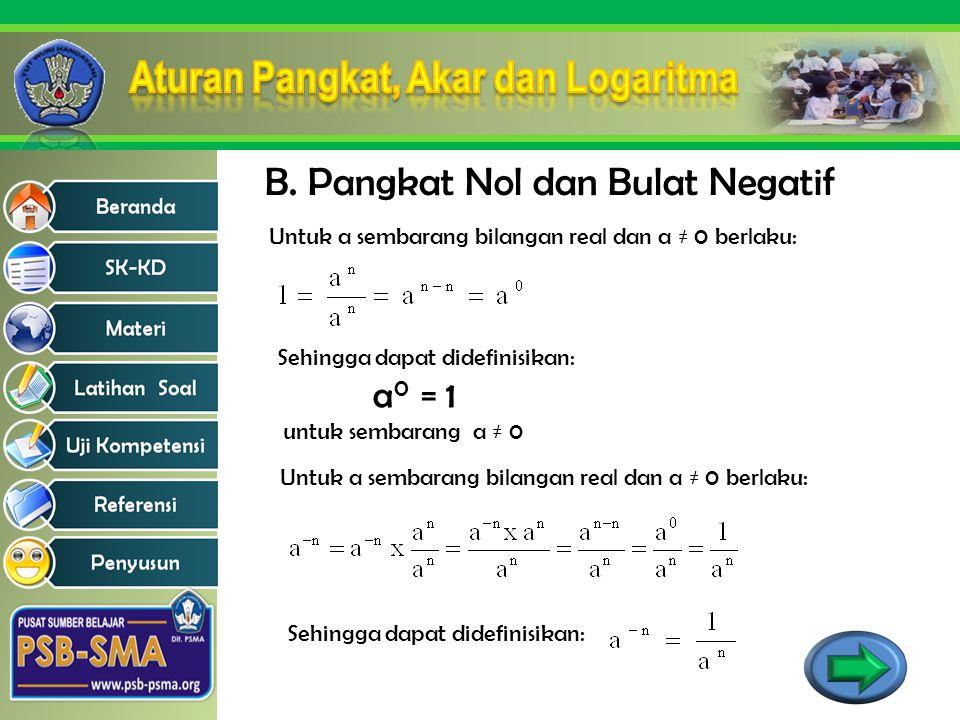 B. Pangkat Nol dan Bulat Negatif