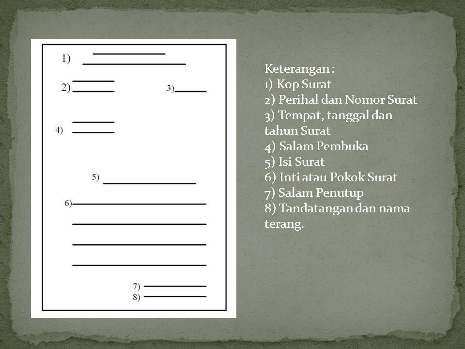 Keterangan : 1) Kop Surat. 2) Perihal dan Nomor Surat. 3) Tempat, tanggal dan tahun Surat. 4) Salam Pembuka.