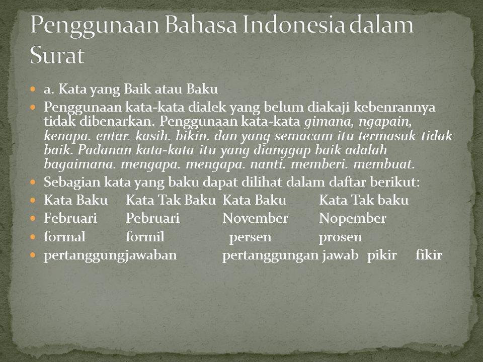 Penggunaan Bahasa Indonesia dalam Surat