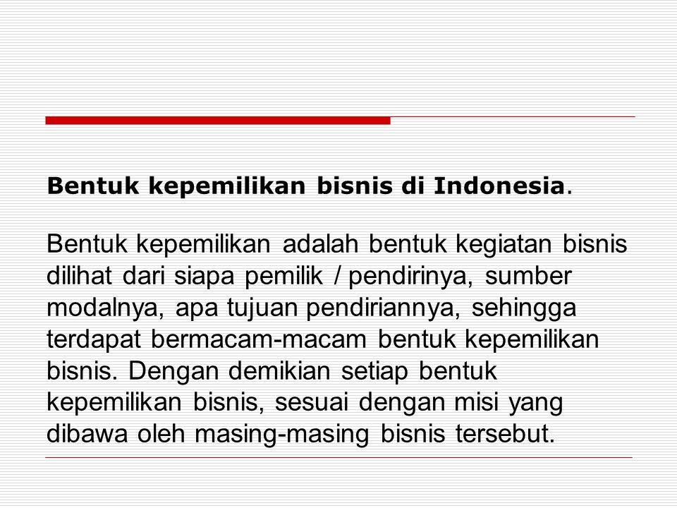 Bentuk kepemilikan bisnis di Indonesia