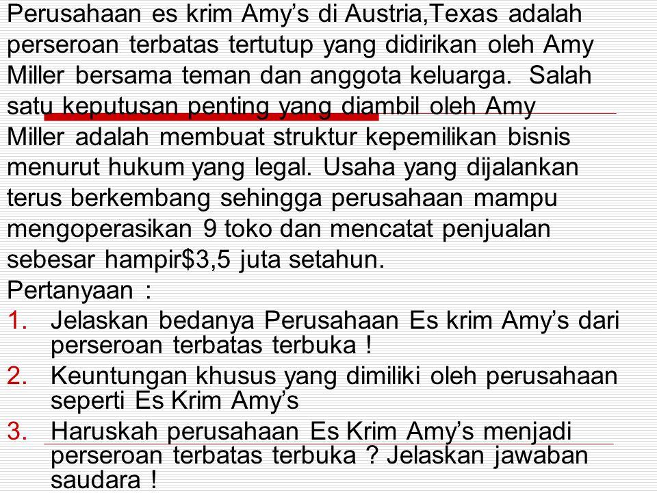 Perusahaan es krim Amy's di Austria,Texas adalah