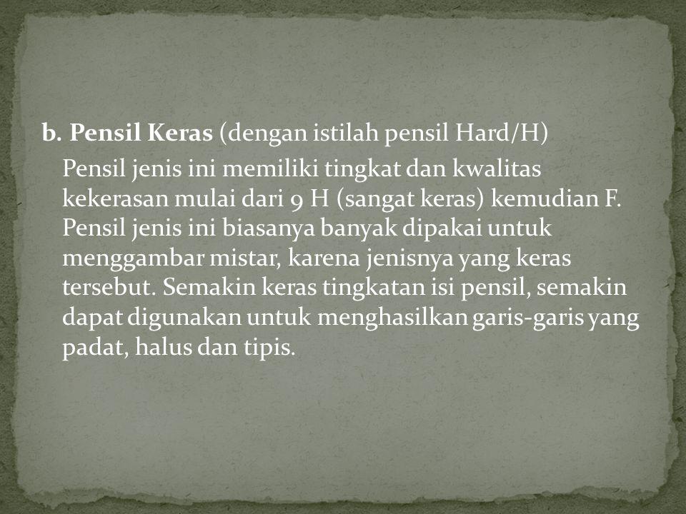 b. Pensil Keras (dengan istilah pensil Hard/H)