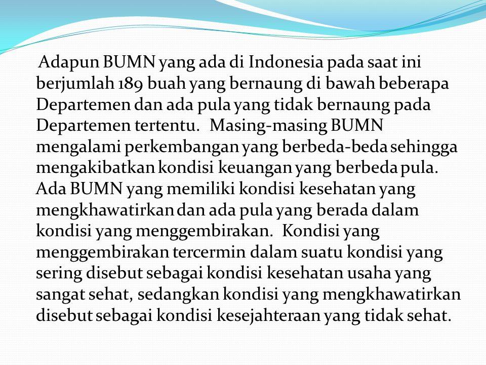 Adapun BUMN yang ada di Indonesia pada saat ini berjumlah 189 buah yang bernaung di bawah beberapa Departemen dan ada pula yang tidak bernaung pada Departemen tertentu.