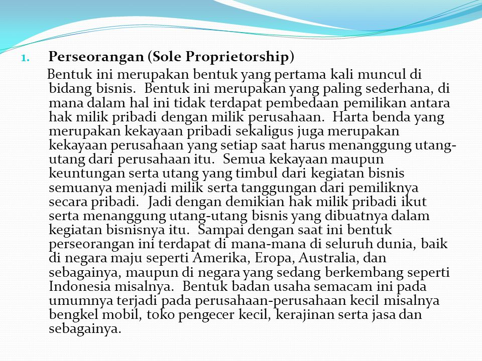 Perseorangan (Sole Proprietorship)