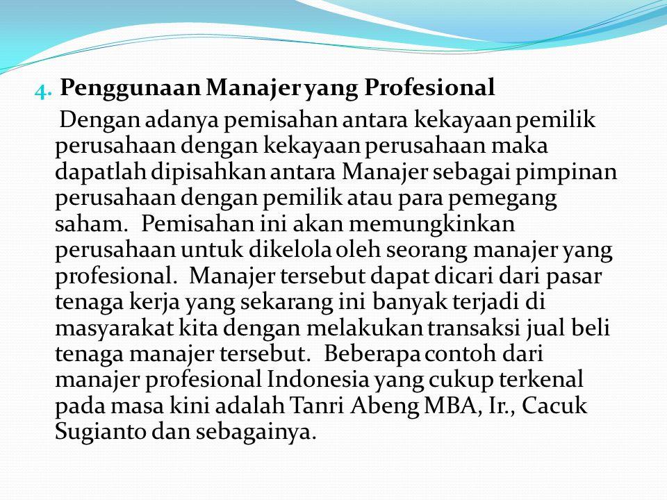 Penggunaan Manajer yang Profesional