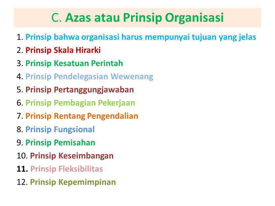C. Azas atau Prinsip Organisasi