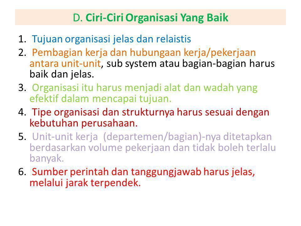 D. Ciri-Ciri Organisasi Yang Baik