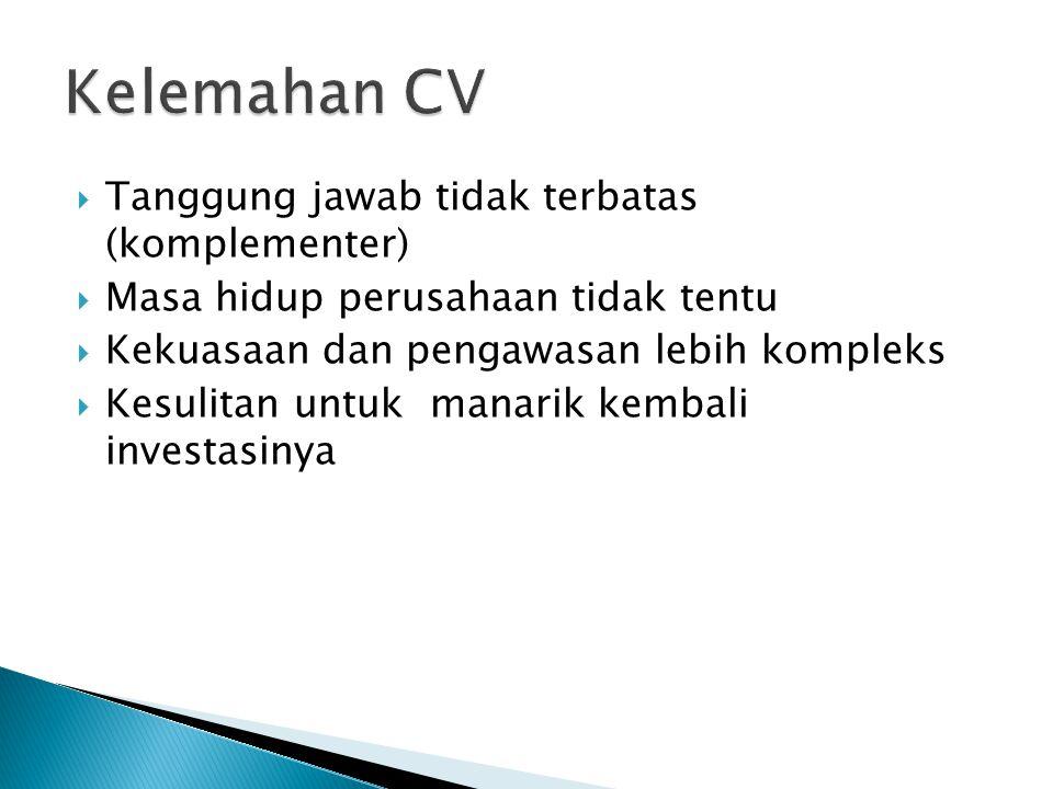 Kelemahan CV Tanggung jawab tidak terbatas (komplementer)