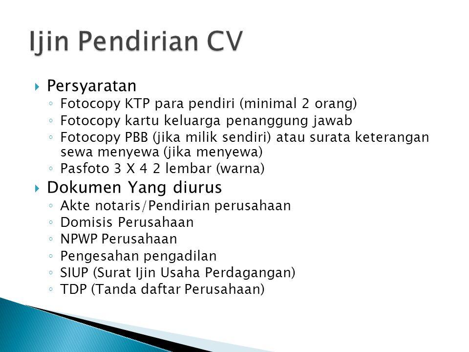 Ijin Pendirian CV Persyaratan Dokumen Yang diurus