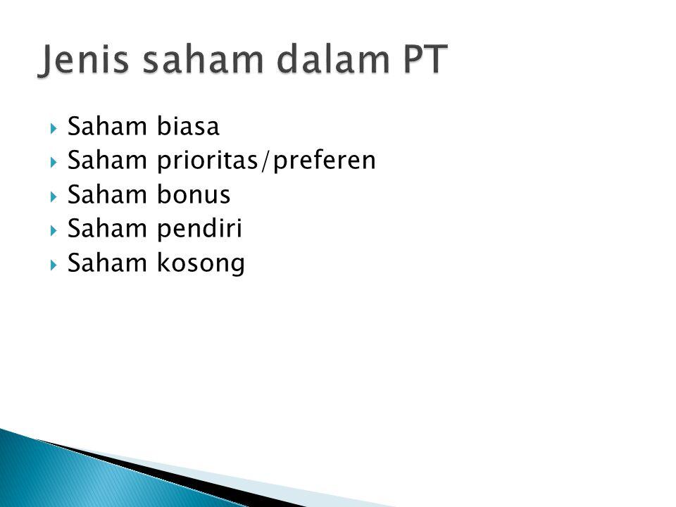 Jenis saham dalam PT Saham biasa Saham prioritas/preferen Saham bonus