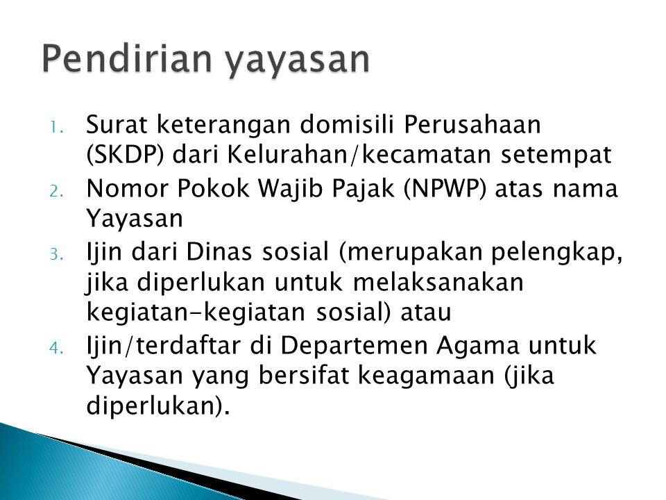 Pendirian yayasan Surat keterangan domisili Perusahaan (SKDP) dari Kelurahan/kecamatan setempat. Nomor Pokok Wajib Pajak (NPWP) atas nama Yayasan.