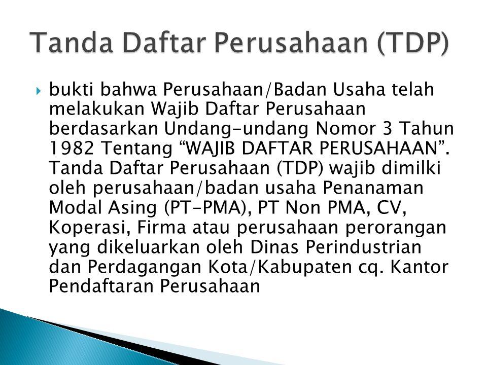Tanda Daftar Perusahaan (TDP)