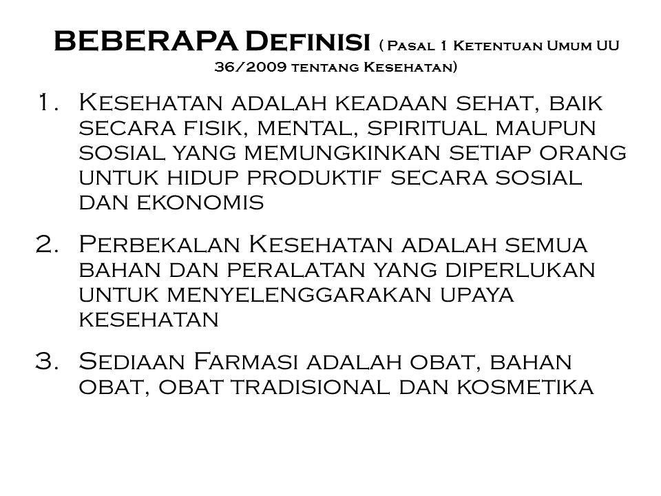 BEBERAPA Definisi ( Pasal 1 Ketentuan Umum UU 36/2009 tentang Kesehatan)