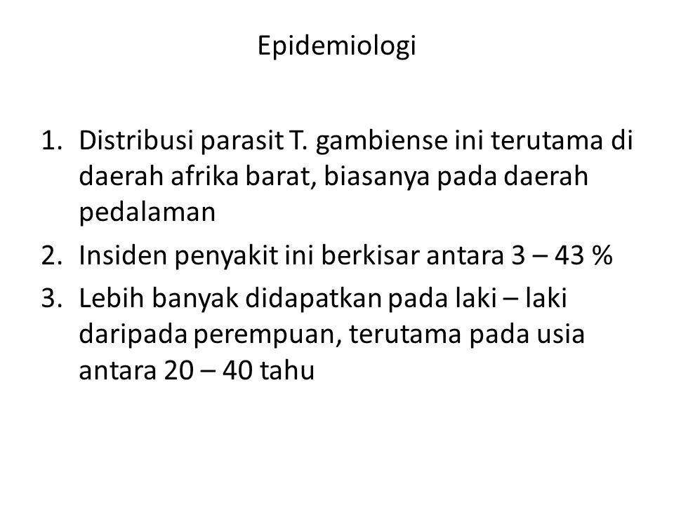 Epidemiologi Distribusi parasit T. gambiense ini terutama di daerah afrika barat, biasanya pada daerah pedalaman.