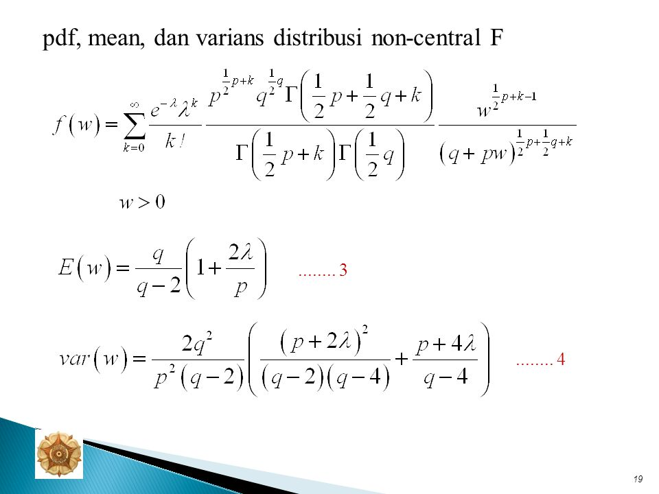 pdf, mean, dan varians distribusi non-central F