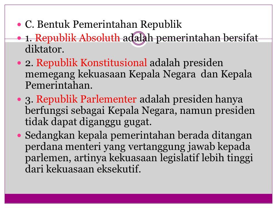 C. Bentuk Pemerintahan Republik