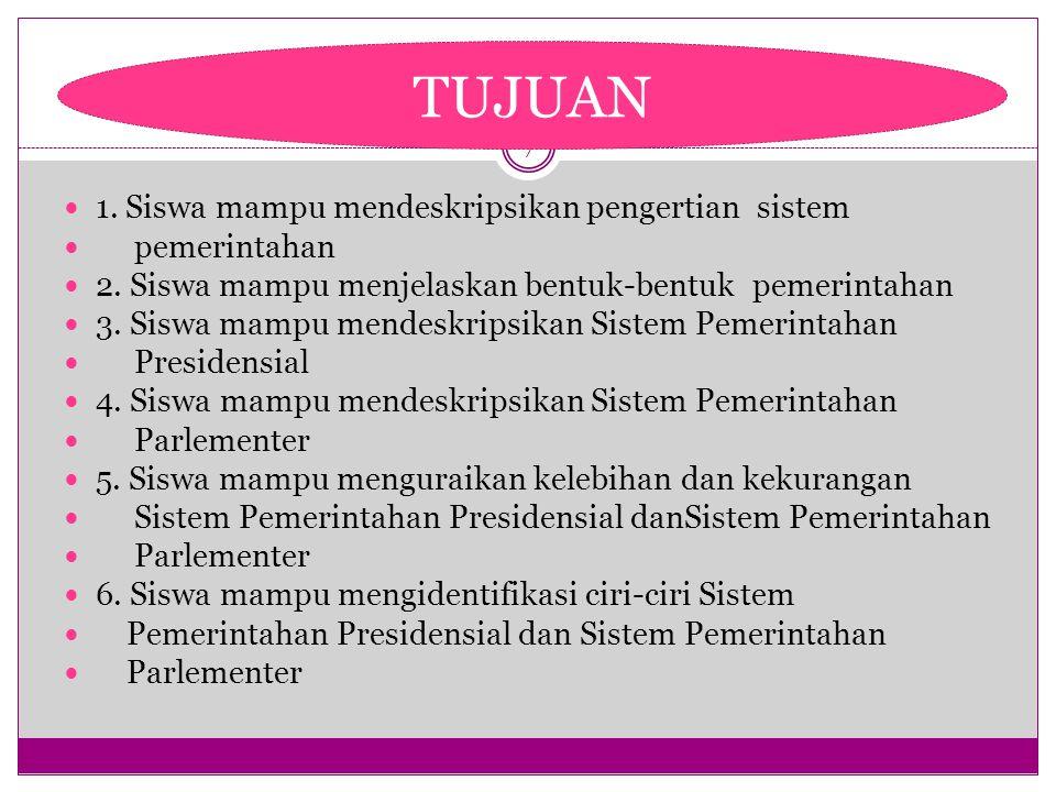TUJUAN 1. Siswa mampu mendeskripsikan pengertian sistem pemerintahan