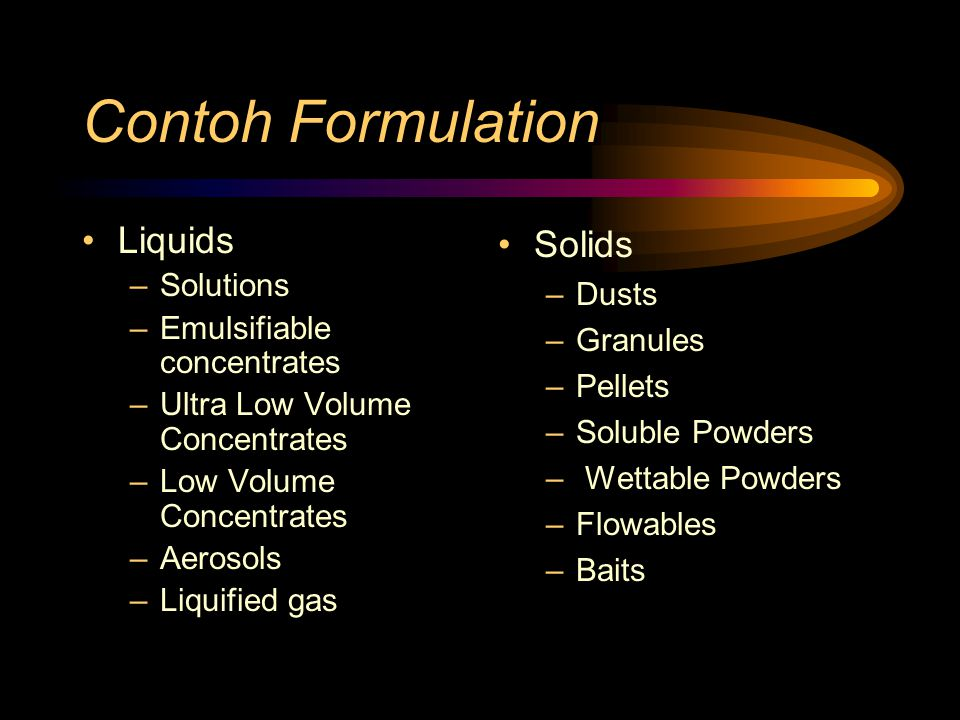 Contoh Formulation Liquids Solids Solutions Dusts