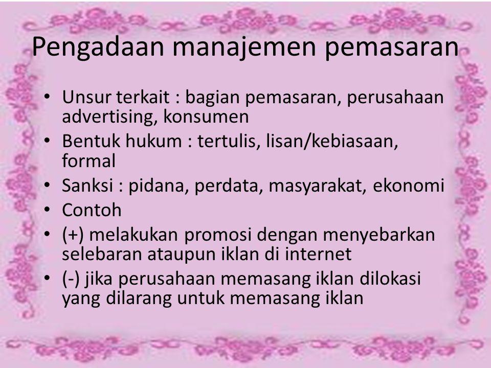 Pengadaan manajemen pemasaran
