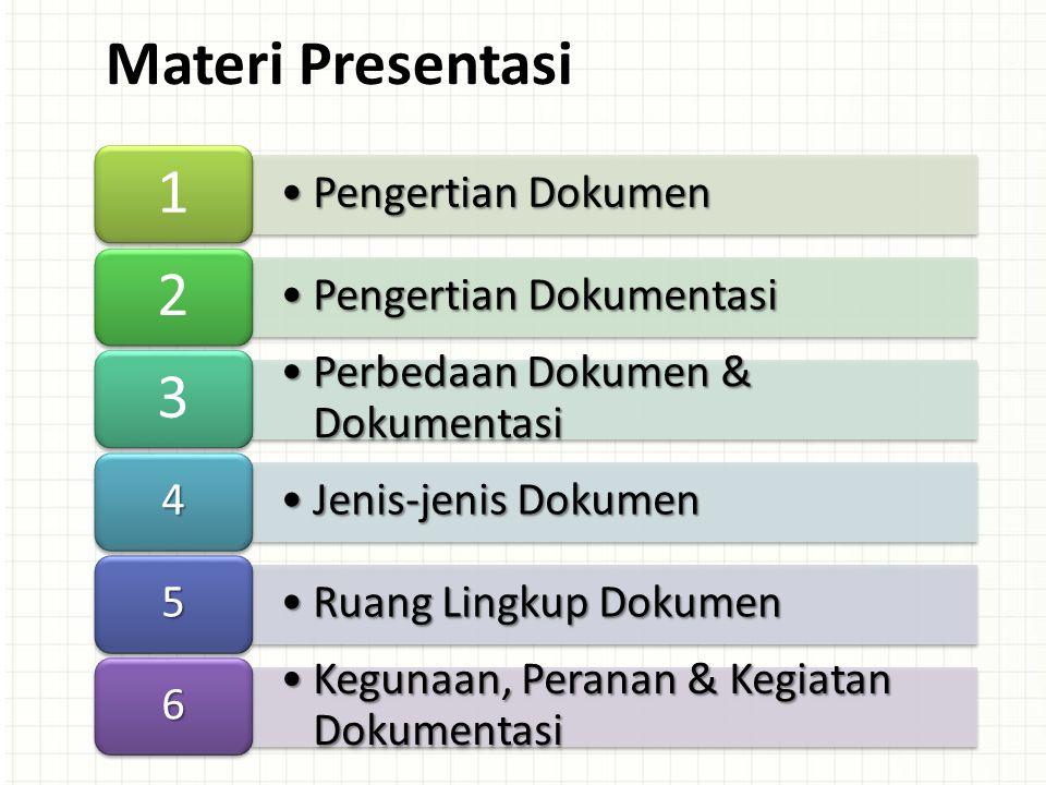 Materi Presentasi 1 2 3 Pengertian Dokumen Pengertian Dokumentasi