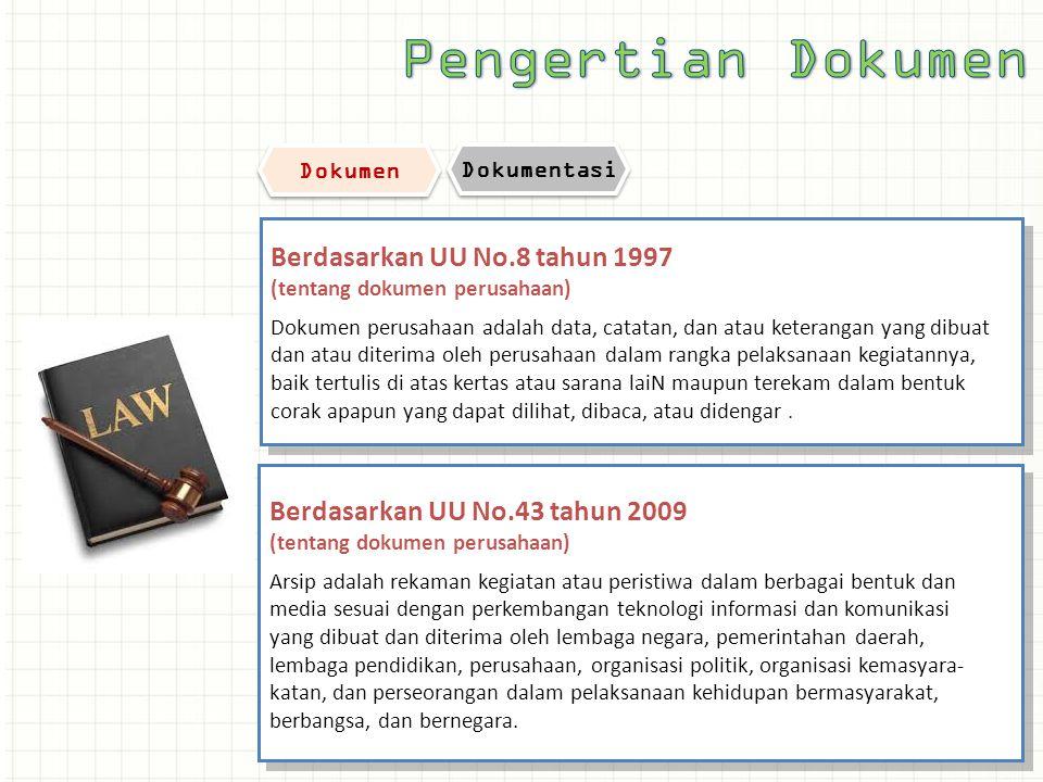 Pengertian Dokumen Berdasarkan UU No.8 tahun 1997
