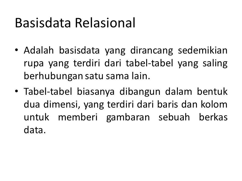 Basisdata Relasional Adalah basisdata yang dirancang sedemikian rupa yang terdiri dari tabel-tabel yang saling berhubungan satu sama lain.