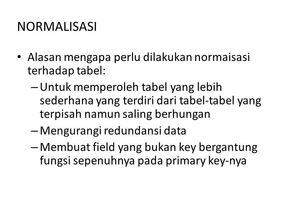 NORMALISASI Alasan mengapa perlu dilakukan normaisasi terhadap tabel: