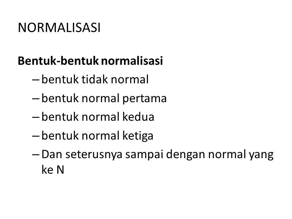 NORMALISASI Bentuk-bentuk normalisasi bentuk tidak normal