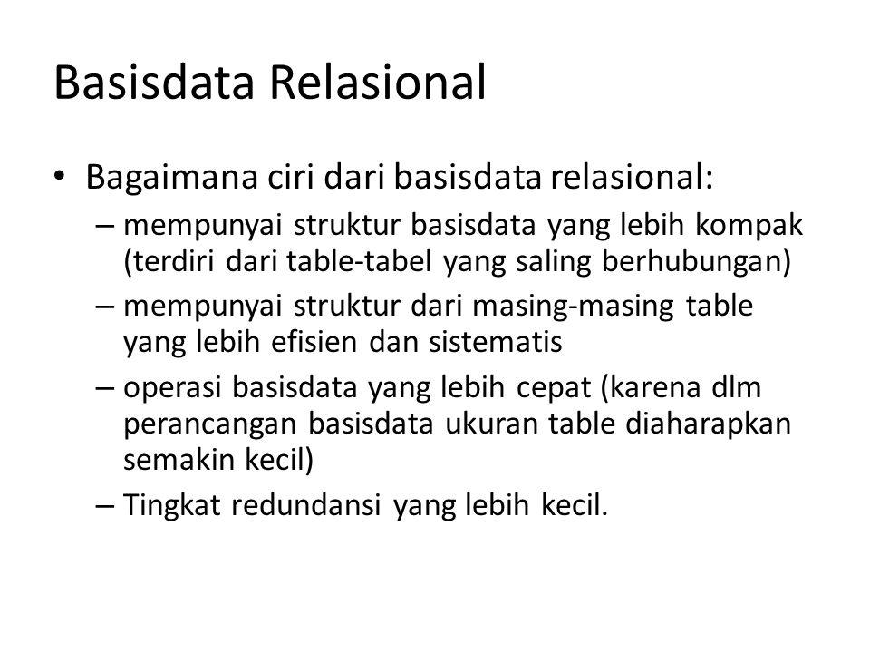 Basisdata Relasional Bagaimana ciri dari basisdata relasional: