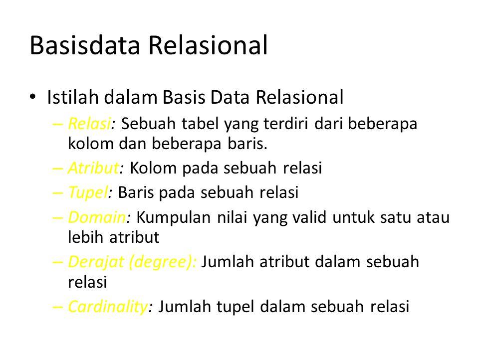 Basisdata Relasional Istilah dalam Basis Data Relasional