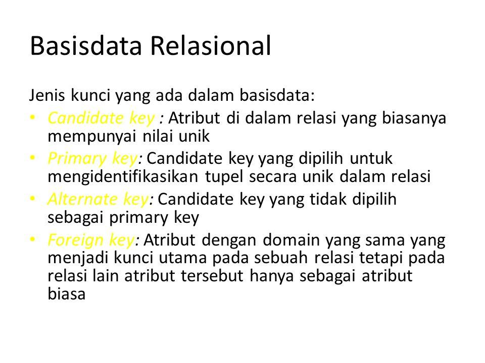 Basisdata Relasional Jenis kunci yang ada dalam basisdata: